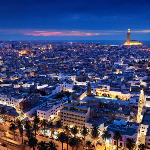 MAROC CASABLANCA Vue sur la medina et la mosquée Hassan II Casa